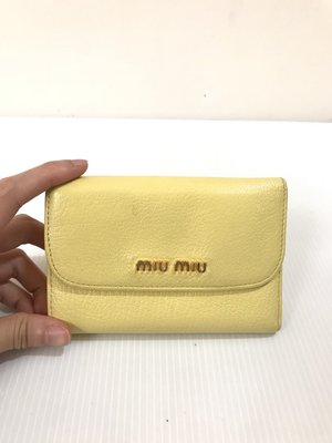 二手真品 MIU MIU 乳黃色中夾/(8卡夾)/零錢包