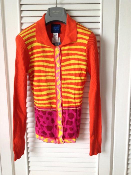 全新吊牌 Kenzo 橘色黃條紋紫紅印花開襟針織外套