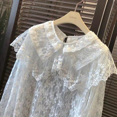 女裝上衣 內搭打底衫新秋裝蕾絲大翻領打底衫女洋氣很仙的透視內搭長袖打底小襯衫