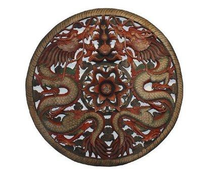 INPHIC-東南亞 家居飾品 泰國風格 木雕 掛飾 蓮花鏤空板 雙龍