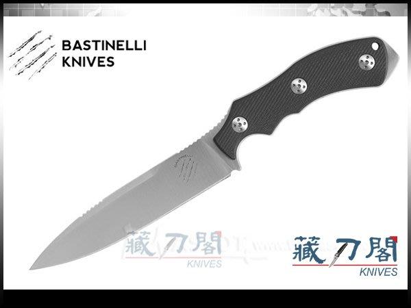 《藏刀閣》Bastinelli-(RAPTOR L)猛禽黑色G-10直柄刀(緞面)