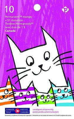 2017年加拿大社區基礎自黏郵票booklet(貓咪)