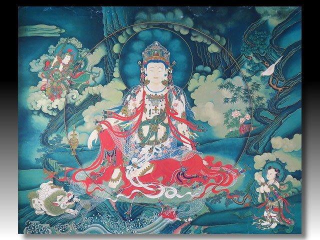 【 金王記拍寶網 】S1407  中國西藏藏密佛像高檔精品絹印唐卡 觀音唐卡一張 完美罕見~