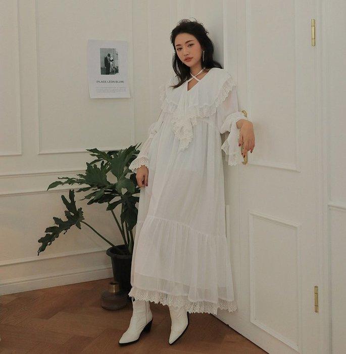 SeyeS {韓國空運} 森林系雜誌款歐式蕾絲滾邊大翻領交叉設計長版洋裝