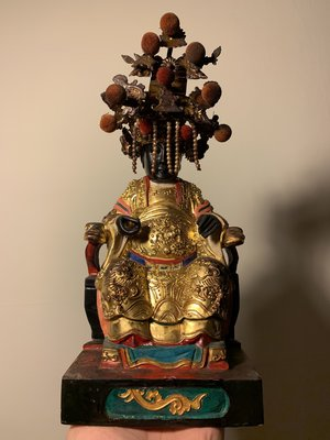 【大目船】木雕黑面媽祖老神像 天上聖母 高8寸8 黑面媽 木雕佛像