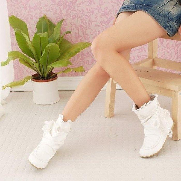 短靴子 女 平跟 春秋 百搭 學生 甜美 蝴蝶結 平底女靴 白色單靴