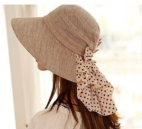 嘉芸的店 RAYLI 防紫外線遮陽帽 夏天女士防曬帽子 點點褶皺蝴蝶護脖 日本帽子