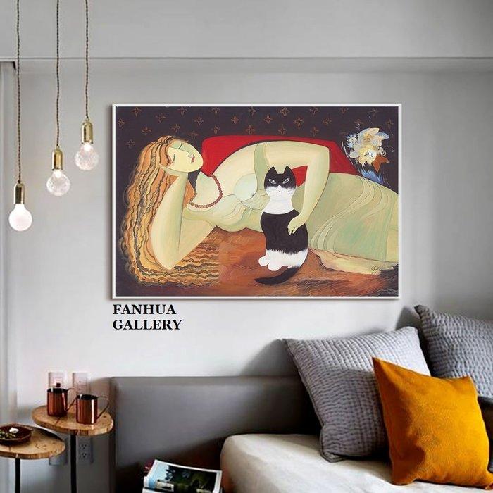 C - R - A - Z - Y - T - O - W - N 愛寵現代新古典女人貓咪裝飾畫貓咪藝術畫印象派橫幅掛畫