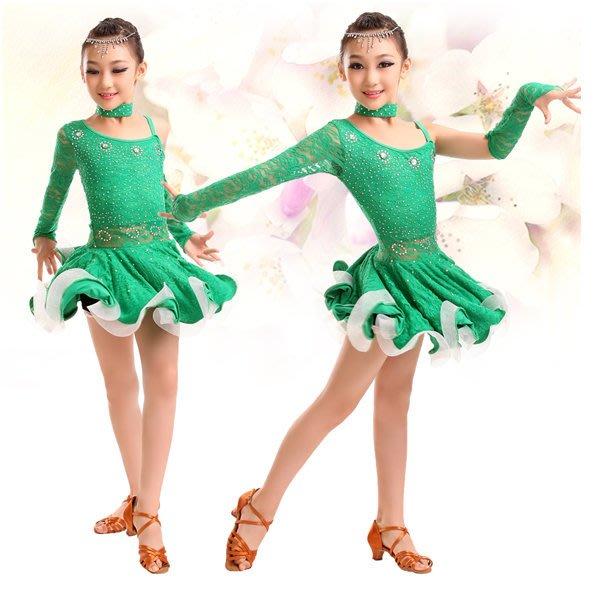 5Cgo【鴿樓】會員有優 40722848675 少兒拉丁舞衣 恰恰倫巴不規則拉丁舞裙 兒童鑲鑽連衣裙 兒童舞衣
