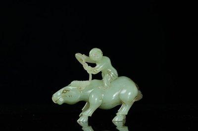 明清和田玉白玉雕童子戲牛手把件擺件 古董古玩古玉老玉收藏【古玩阁】11907