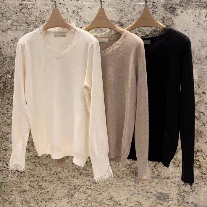 *~fuyumi boutique~*100%正韓 冬裝新款 v領蕾絲針織上衣白/杏/黑