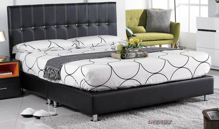 【DH】商品貨號N590-1商品名稱 《愛紗》5尺黑皮水鑽雙人床架/白色。備有六尺。台灣製。可訂做。主要地區免運費