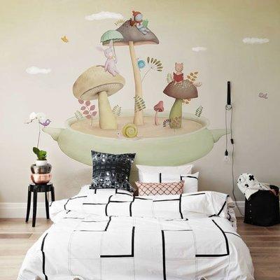 【夏法羅 】童趣系列  蘑菇樂園壁紙  大幅壁紙輸出 韓式風格 兒童房 臥室 S-D