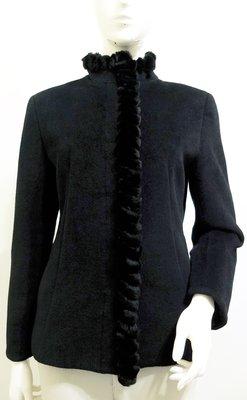日本【Trente Cormorant】黑 純羊毛內含62%Angola安哥拉 兔毛滾飾 大衣外套~直購價790~3/7