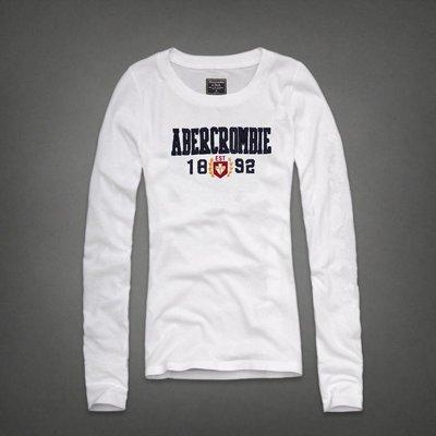 Abercrombie&Fitch 字母1892款式,美國麋鹿女生長袖T恤纯棉休閒T恤 【A&F全新品】