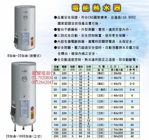 高雄龍耀電器行~~鑫威8.12.15.20.30.40.加侖電能熱水器 (儲水式)5900元起