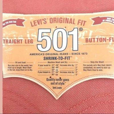 【獨賣款W30-40腰優惠】美國Levi s 501  Shrink-To-Fit 橘紅 上漿 丹寧牛仔褲直筒511
