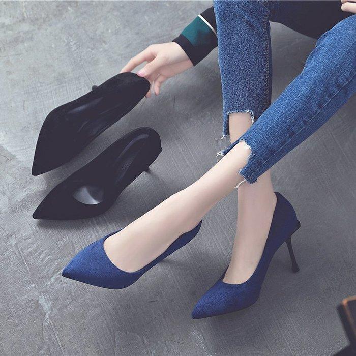 『紫藤花園』法式少女高跟鞋細跟2020春季新款百搭黑色職業單鞋小碼鞋女大碼SD
