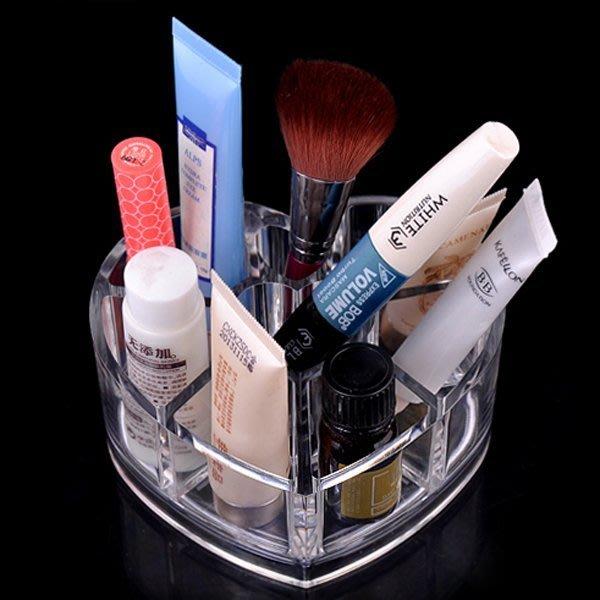 5Cgo【鴿樓】會員有優惠  9745419153 透明愛心分格收納盒塑料 護膚品收納 化妝品收納盒 兩個一組