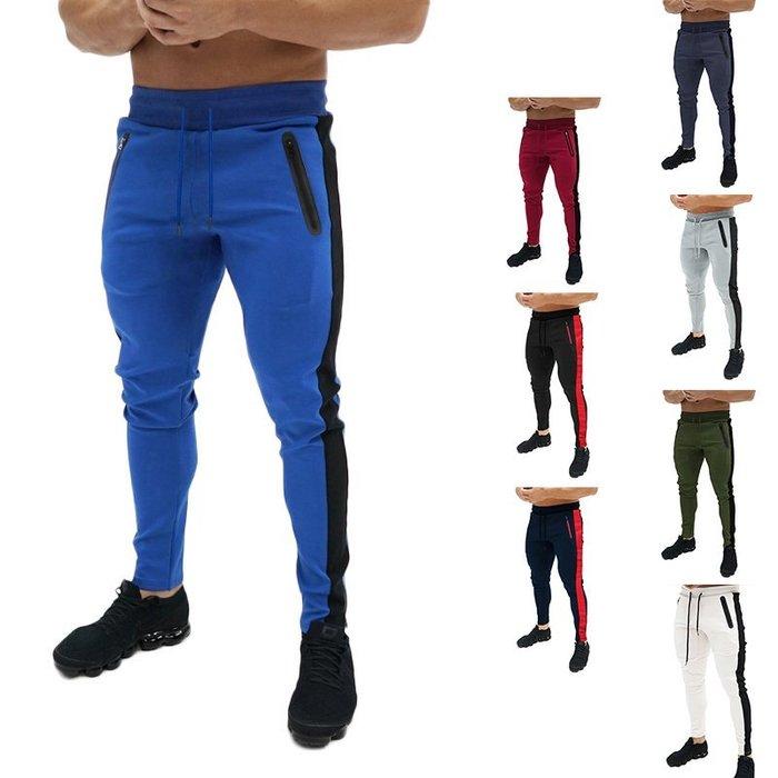 『潮范』  N4 歐碼修身休閒運動褲 拼接抽繩開袋設計男士休閒長褲 小腳褲