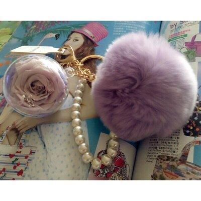 【現貨】淺紫色永生花毛球鑰匙圈吊飾