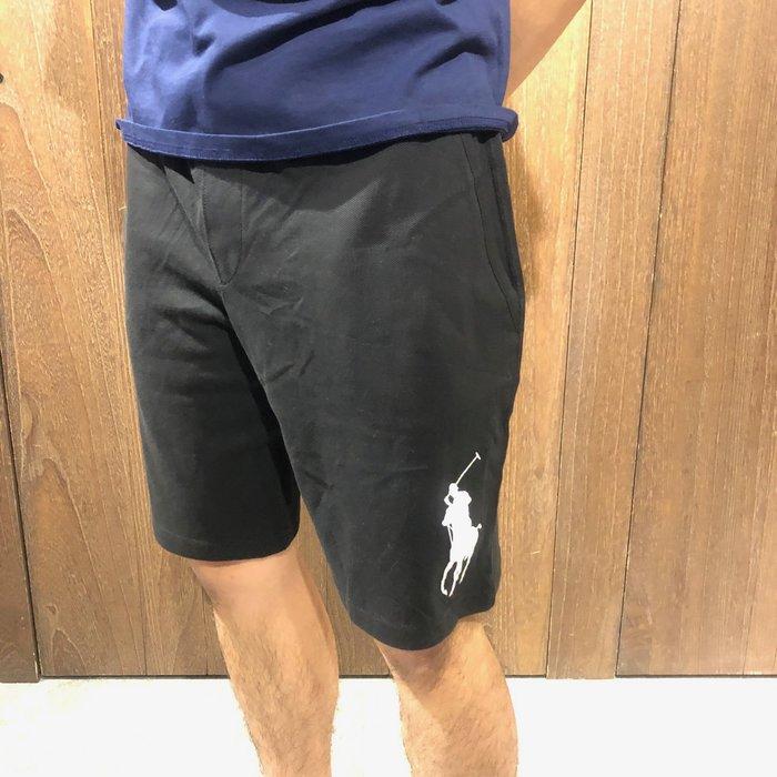 美國百分百【全新真品】 Ralph Lauren RL 大馬 短褲 休閒 棉褲 經典大馬 M號 黑色 Ak51