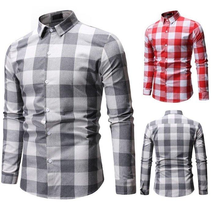『潮范』  N3 新款外貿休閒格子翻領男士長袖襯衫 拼接襯衫 圖案襯衫 大碼襯衫NRG200
