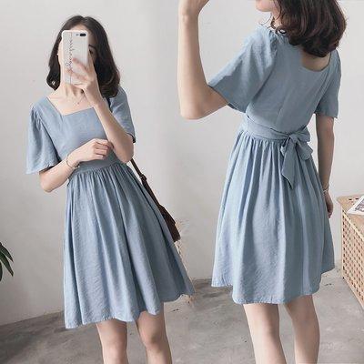 棉麻 洋裝 正韓法式復古方領收腰顯瘦少...