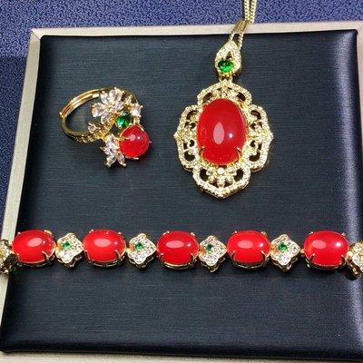 A級真品玉石珠寶 天然瑪瑙高冰紅玉髓925銀鍍金鑲嵌戒指項鍊手鍊3件套女款時尚百搭