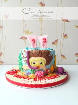 【Connie's Home Sweets】游泳主題生日蛋糕 Swimming Girl Tailor Made Cake 3D蛋糕 可來圖訂制蛋糕 糖皮蛋糕