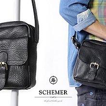 SCHEMER/ 8366牛皮製隨身側背包 黑色荔枝紋皮革側背包 黑色側背子母包 真皮隨身旅遊小包