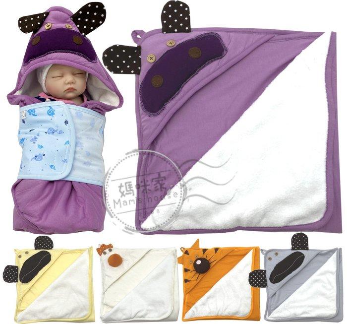 【K011】K11動物厚包巾 75*70cm 厚綿 雙面棉 軟綿 珊瑚絨 三角帽 護頭 保暖 小被 嬰兒毯 彌月 媽咪家