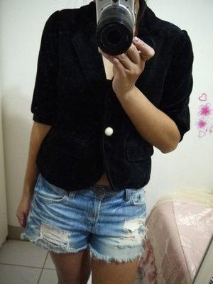 ❤夏莎shasa❤全新日本品牌Retro Girl黑色絨布外搭小外套/1元起標