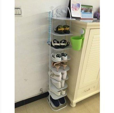 ☜男神閣☞拉奧孔 防塵九多層收納金屬簡易小鞋櫃子經濟型家用客廳鐵藝鞋架