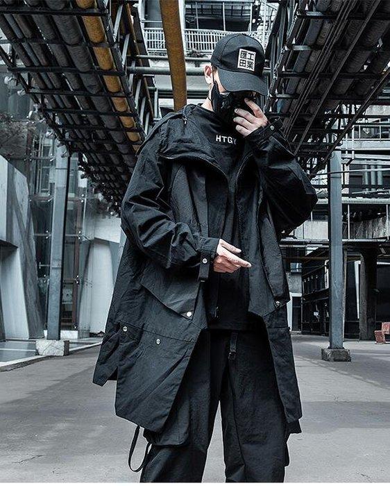 FINDSENSE X 男士暗黑機能風中長款披肩寬松外套風衣外套