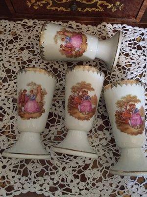 預購商品法國Limoges半手繪愛侶系列酒杯4個 D17