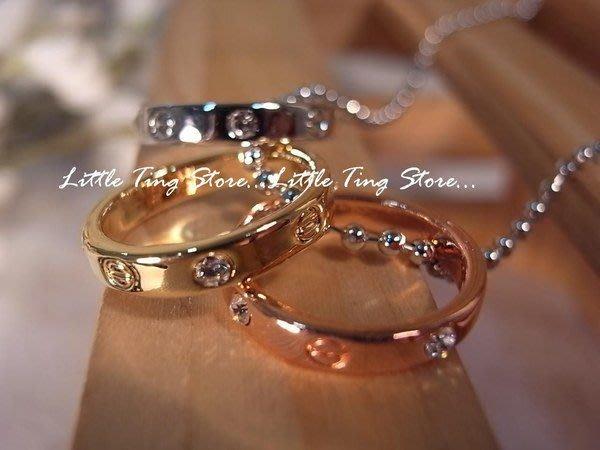 Little Ting Store: 3個似卡地亞戒環圈圈水晶鑽短項鍊串鏈珠頸鍊 鎖骨鏈
