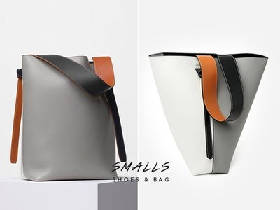 【SMALLS】真皮訂製 灰白橘撞色 隨性拼接寬肩帶 肩背大水桶包(4色) #nude 韓 心田 holicholic