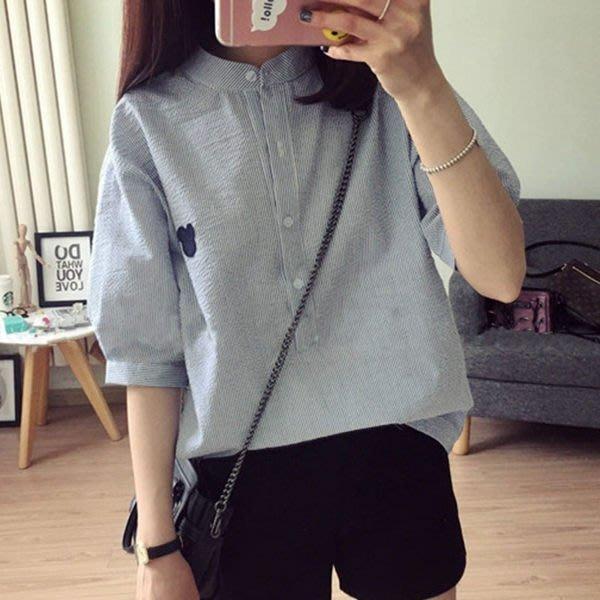 (XA-8133)韓休閒寬鬆簡約條紋圖案清新百搭短袖襯衫