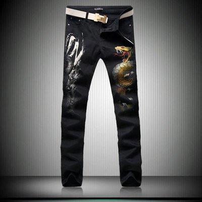 時尚服飾 非主流印花牛仔褲潮中國風褲子蛇圖案夜店社會小夥韓版修身直筒褲