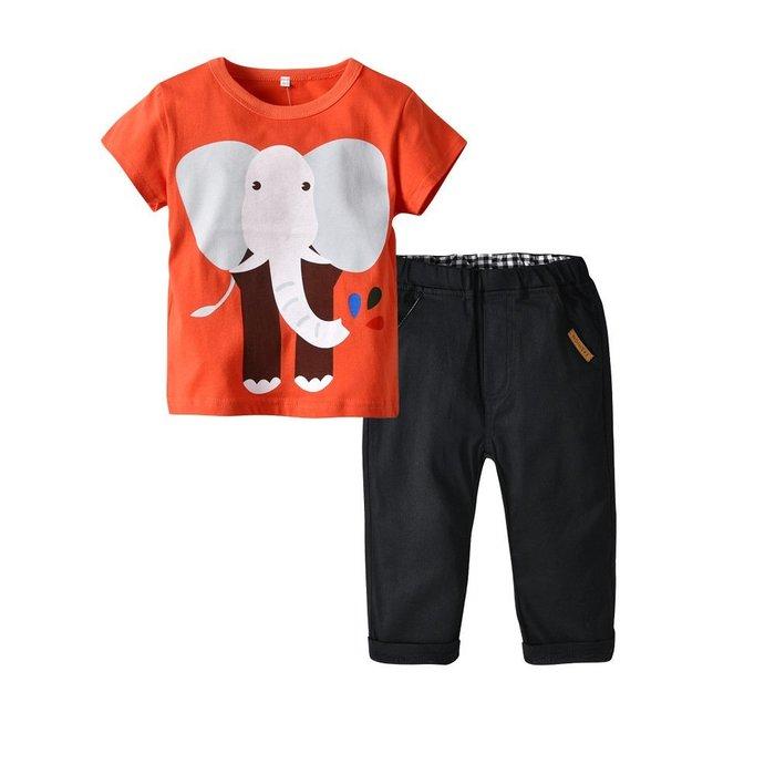 童裝  男童 圓領大象印花T黑色梭織長褲兩件套 童裝  女童 套裝