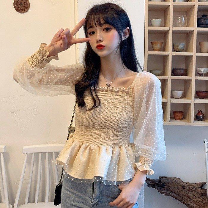 韓版 平口T恤 一字肩 甜美 一字領 網紗修身波點燈籠露肩短款長袖襯衫上衣女