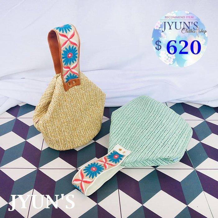 JYUN'S 新款日系度假風民族風波西米亞立體刺繡草編包旅遊沙灘包單肩手提包水桶包斜垮包單肩包 2色 預購