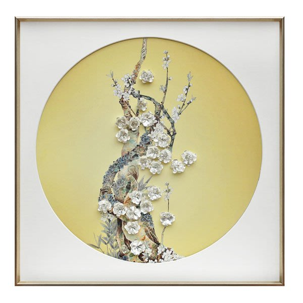 5Cgo【茗道】客廳玄關裝飾畫軟裝樣板房酒店別墅背景牆花卉實物立體掛畫手工記憶立體裝置環保畫框571538074655