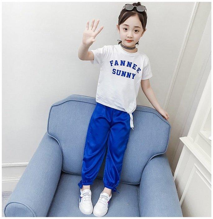 日韓歐美♥熱賣款 韓版女童 字母短袖側邊綁帶上衣+透氣舒服腳口綁帶造型長褲 套裝組   【E881】