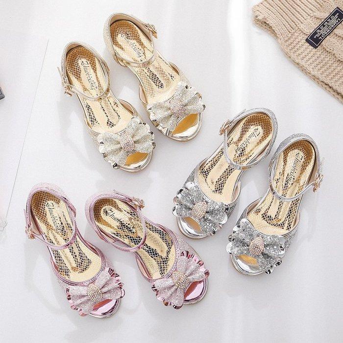 •*~ 辣媽咪衣飾小舖 ~*•❤童鞋系列❤A970128冰雪奇緣灰姑娘小女孩水晶閃鑽公主鞋