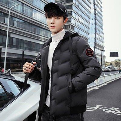 羽絨 外套 連帽夾克-純色短款休閒加厚男外套3色73un2[獨家進口][巴黎精品]