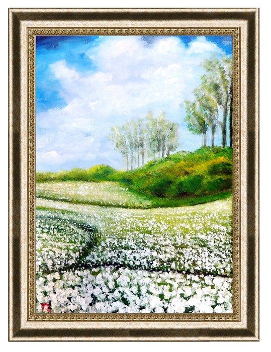 藝術之都:手繪油畫 ~小白菊~已完成作品實品拍攝 台灣畫家ROSE