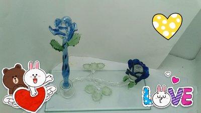 [玻璃國] 手工 玻璃筆 玫瑰花琉璃筆+藍玫瑰花墨水座 送禮自用皆宜(1組特價2200元)(琉璃筆永久免費維修)