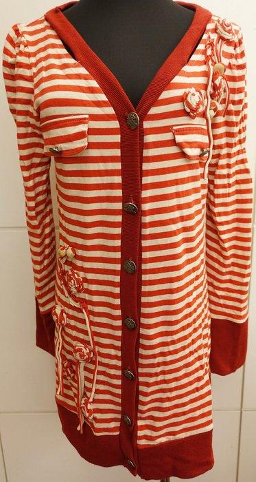 大降價!約六成新義大利製Gisele Bocchini L 號 紅白條紋可愛風宮廷風長上衣,原價約五六千元!免運無底價!